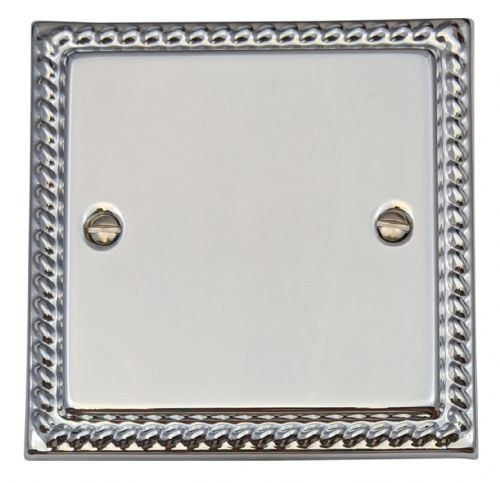 G&H MC31 Monarch Roped Polished Chrome 1 Gang Single Blank Plate